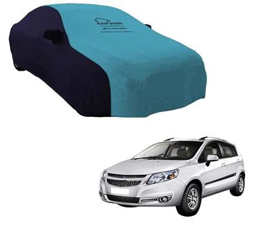 Picture of Dual Tone Aqua Blue Car Body Cover For Chevrolet Sail Hatchback - Sporty Blue