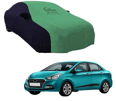 Picture of Dual Tone Green Blue Car Body Cover For Hyundai Xcent 2017 - Sporty Blue