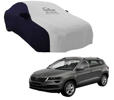 Picture of Dual Tone Silver Blue Car Body Cover For Skoda Karoq 2020 - Sporty Blue