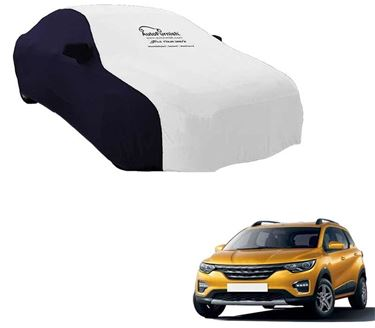 Picture of Dual Tone White Blue Car Body Cover Compatible With Renault Triber 2019 - Sporty Blue