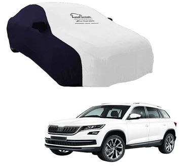 Picture of Dual Tone White Blue Car Body Cover Compatible With Skoda Kodiaq - Sporty Blue