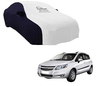 Picture of Dual Tone White Blue Car Body Cover For Chevrolet Sail Hatchback - Sporty Blue