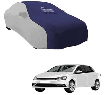 Picture of Dual Tone Blue Silver Car Body Cover for Volkswagen Ameo - Sporty Silver