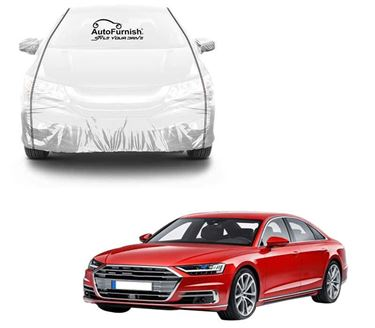 Picture of Parkin White See through Car Cover with Black Piping For Audi A8