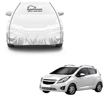 Picture of Parkin White See through Car Cover with Black Piping For Chevrolet Beat