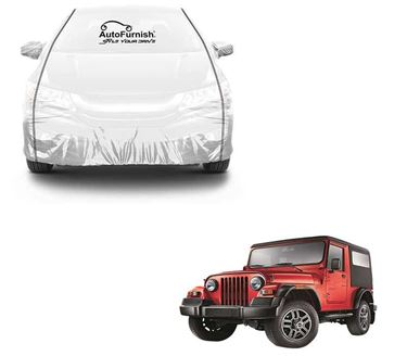Picture of Parkin White See through Car Cover with Black Piping For Mahindra Thar