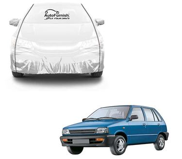 Picture of Parkin White See through Car Cover with Black Piping For Maruti 800
