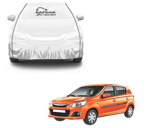 Picture of Parkin White See through Car Cover with Black Piping For Maruti Alto K10