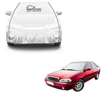 Picture of Parkin White See through Car Cover with Black Piping For Maruti Esteem