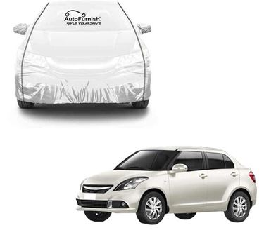Picture of Parkin White See through Car Cover with Black Piping For Maruti Swift Dzire