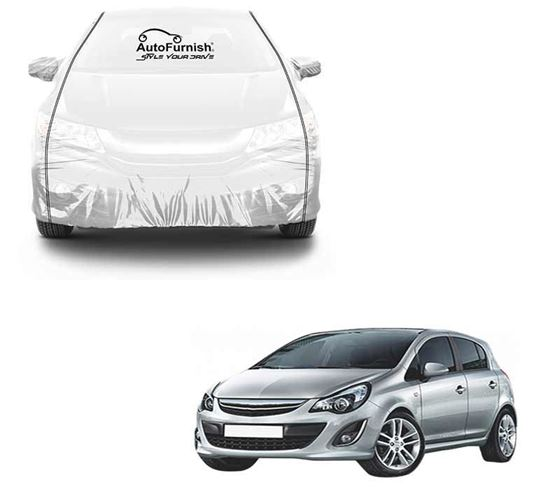 Picture of Parkin White See through Car Cover with Black Piping For Opel Corsa
