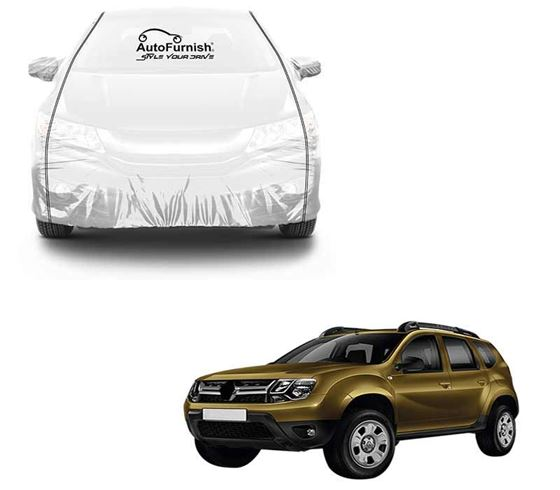 Picture of Parkin White See through Car Cover with Black Piping For Renault Duster