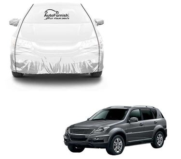 Picture of Parkin White See through Car Cover with Black Piping For Ssangyong Rexton