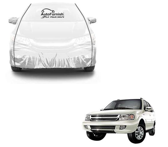 Picture of Parkin White See through Car Cover with Black Piping For Tata Safari