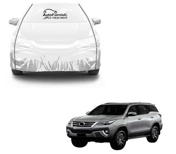 Picture of Parkin White See through Car Cover with Black Piping For Toyota New Fortuner