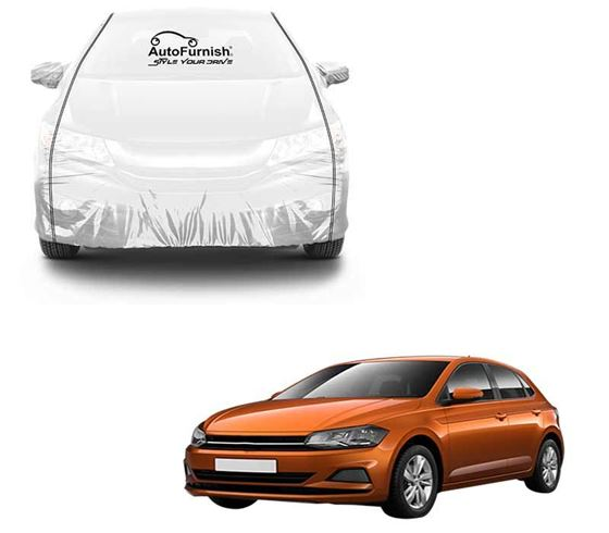 Picture of Parkin White See through Car Cover with Black Piping For Volkswagen Polo