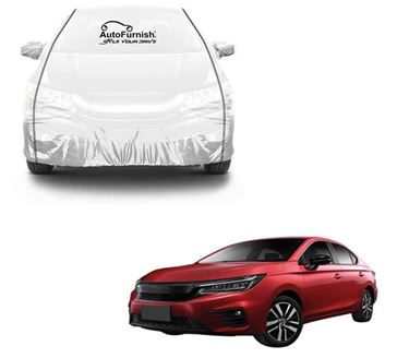 Picture of Parkin White See through Car Body Cover with Black Piping Compatible With Honda City 2020 - Parkin White