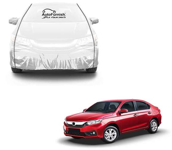 Picture of Parkin White See through Car Cover with Black Piping For Honda Amaze 2018