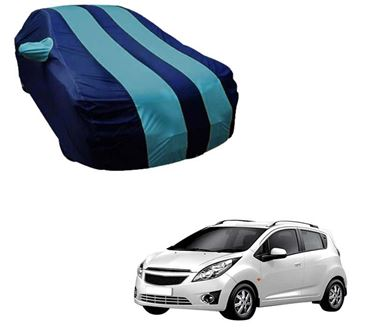 Picture of Stylish Aqua Stripe Car Body Cover For Chevrolet Beat - Arc Blue
