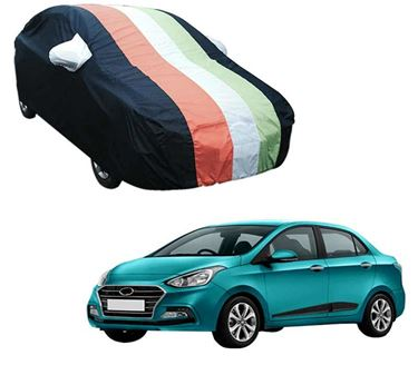 Picture of Stylish Freedom Tri Stripe Car Body Cover For Hyundai Xcent 2017 -  Arc Blue
