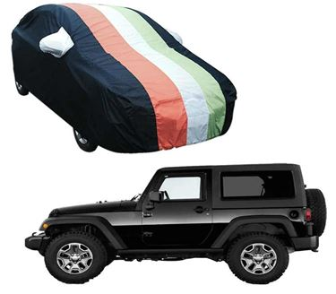 Picture of Stylish Freedom Tri Stripe Car Body Cover For Mahindra Thar 2020 - Arc Blue