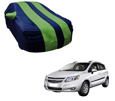 Picture of Stylish Green Stripe Car Body Cover For Chevrolet Sail Hatchback - Arc Blue