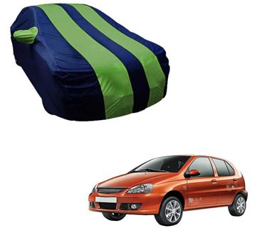 Picture of Stylish Green Stripe Car Body Cover For Tata Indica eV2 - Arc Blue