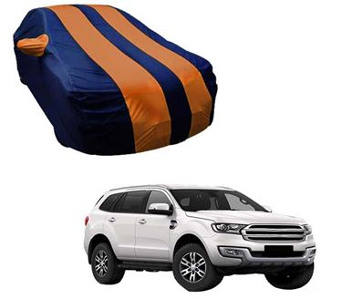 Picture of Stylish Orange Stripe Car Body Cover For Ford Endeavour - Arc Blue