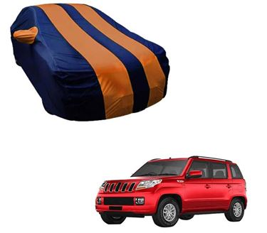 Picture of Stylish Orange Stripe Car Body Cover For Mahindra TUV300 - Arc Blue