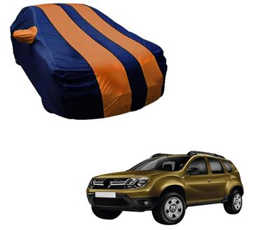 Picture of Stylish Orange Stripe Car Body Cover For Renault Duster - Arc Blue