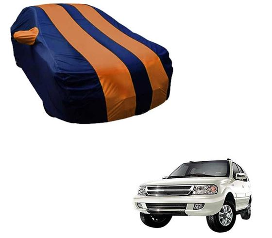 Picture of Stylish Orange Stripe Car Body Cover For Tata Safari - Arc Blue