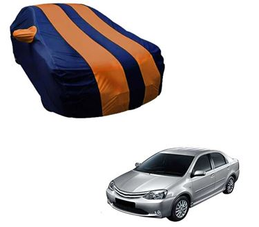Picture of Stylish Orange Stripe Car Body Cover For Toyota Etios - Arc Blue