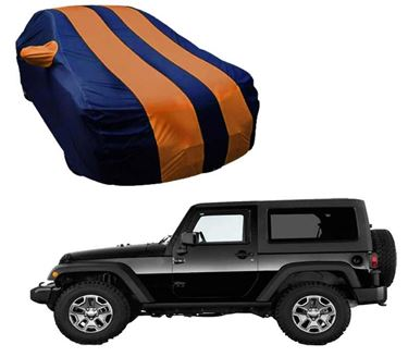 Picture of Stylish Orange Stripe Car Body Cover For Mahindra Thar 2020 - Arc Blue