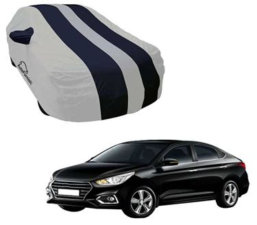 Picture of Stylish Blue Stripe Car Body Cover For Hyundai Verna 2017 -  Arc Blue