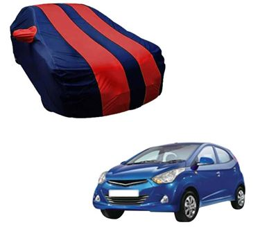Picture of Stylish Red Stripe Car Body Cover For Hyundai Eon - Arc Blue