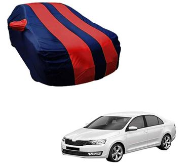 Picture of Stylish Red Stripe Car Body Cover For Skoda Rapid - Arc Blue