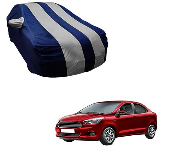 Picture of Stylish Silver Stripe Car Body Cover For Ford Figo Aspire - Arc Blue