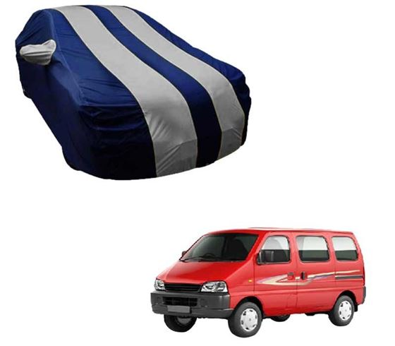 Picture of Stylish Silver Stripe Car Body Cover For Maruti Eeco - Arc Blue