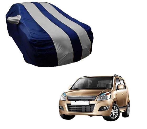 Picture of Stylish Silver Stripe Car Body Cover For Maruti Wagon R 1.0 - Arc Blue