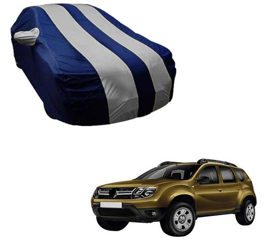 Picture of Stylish Silver Stripe Car Body Cover For Renault Duster - Arc Blue
