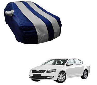Picture of Stylish Silver Stripe Car Body Cover For Skoda Octavia - Arc Blue