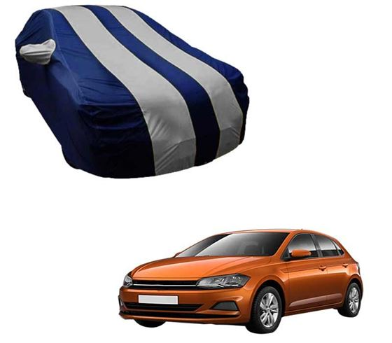 Picture of Stylish Silver Stripe Car Body Cover For Volkswagen Polo - Arc Blue
