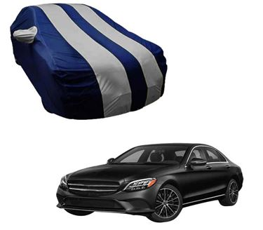 Picture of Stylish Silver Stripe Car Body Cover For Mercedes Benz E200 2019 - Arc Blue