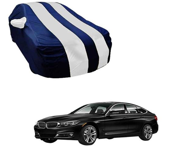 Picture of Stylish White Stripe Car Body Cover For BMW 3 Series GT - Arc Blue