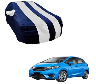 Picture of Stylish White Stripe Car Body Cover For Honda Jazz - Arc Blue