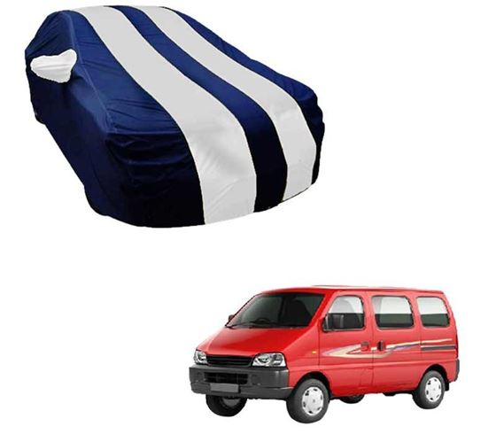 Picture of Stylish White Stripe Car Body Cover For Maruti Eeco - Arc Blue