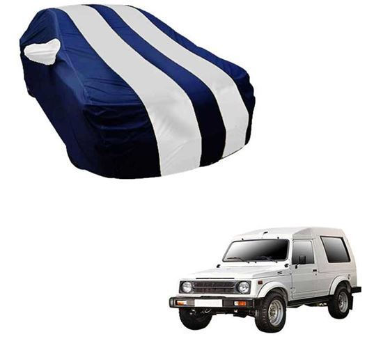 Picture of Stylish White Stripe Car Body Cover For Maruti Gypsy - Arc Blue