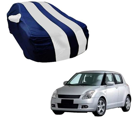 Picture of Stylish White Stripe Car Body Cover For Maruti Swift - Arc Blue