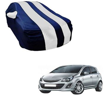 Picture of Stylish White Stripe Car Body Cover For Opel Corsa - Arc Blue