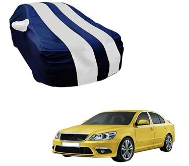 Picture of Stylish White Stripe Car Body Cover For Skoda Laura - Arc Blue